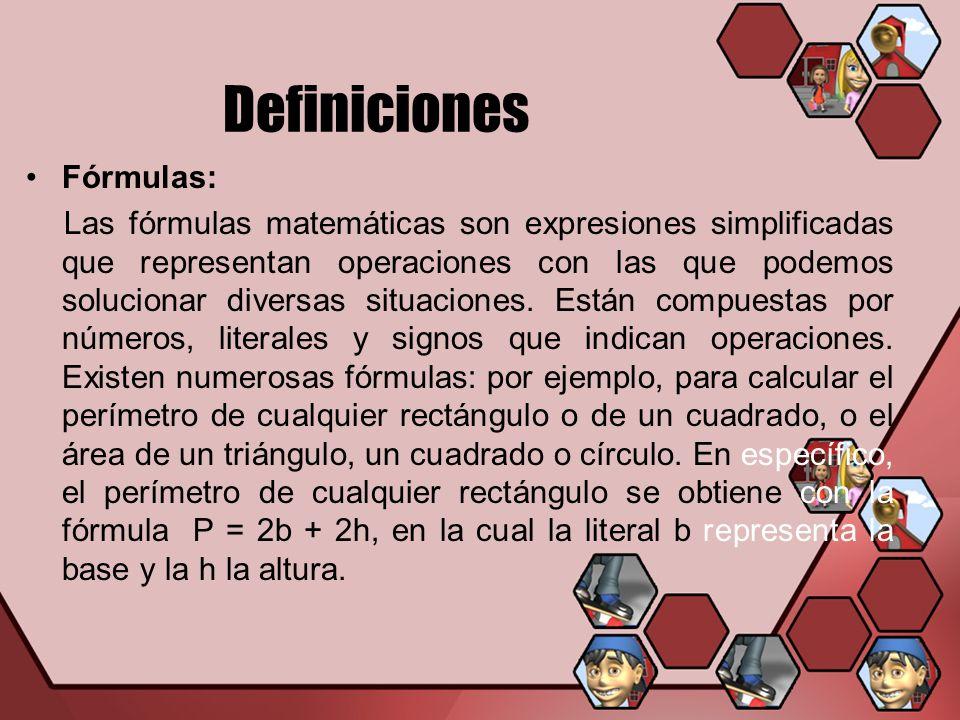 Definiciones Fórmulas: