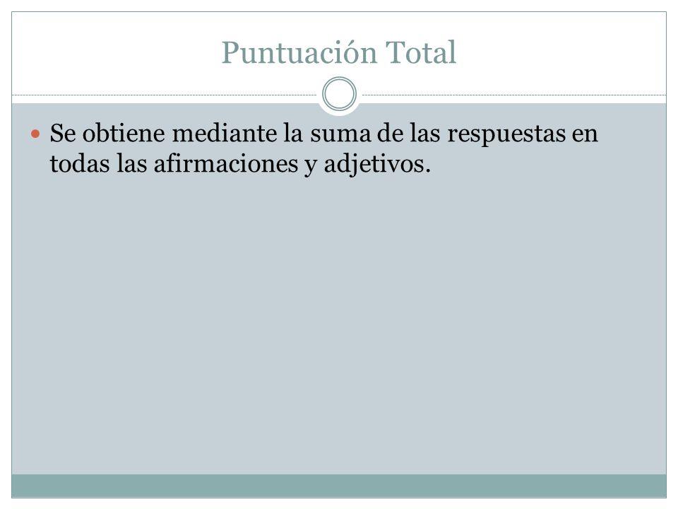 Puntuación Total Se obtiene mediante la suma de las respuestas en todas las afirmaciones y adjetivos.