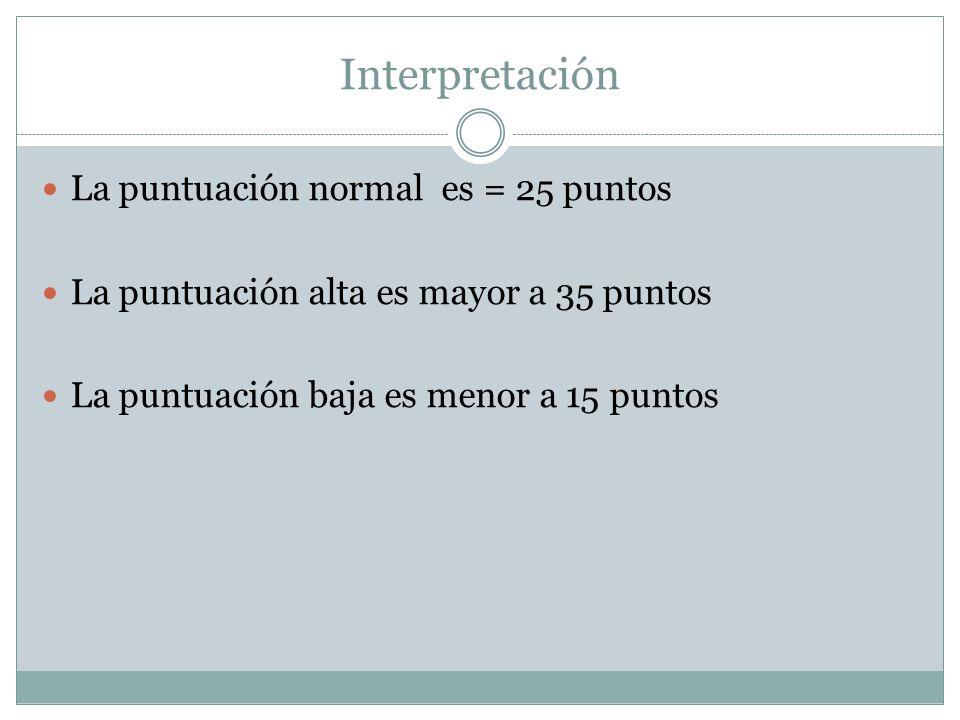 Interpretación La puntuación normal es = 25 puntos