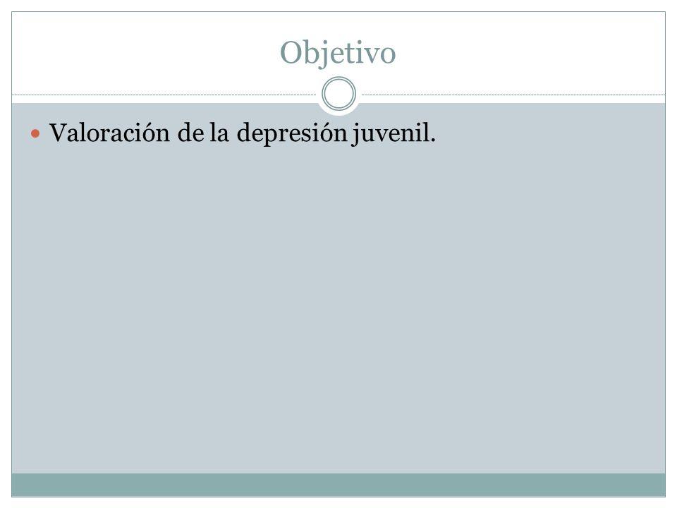 Objetivo Valoración de la depresión juvenil.