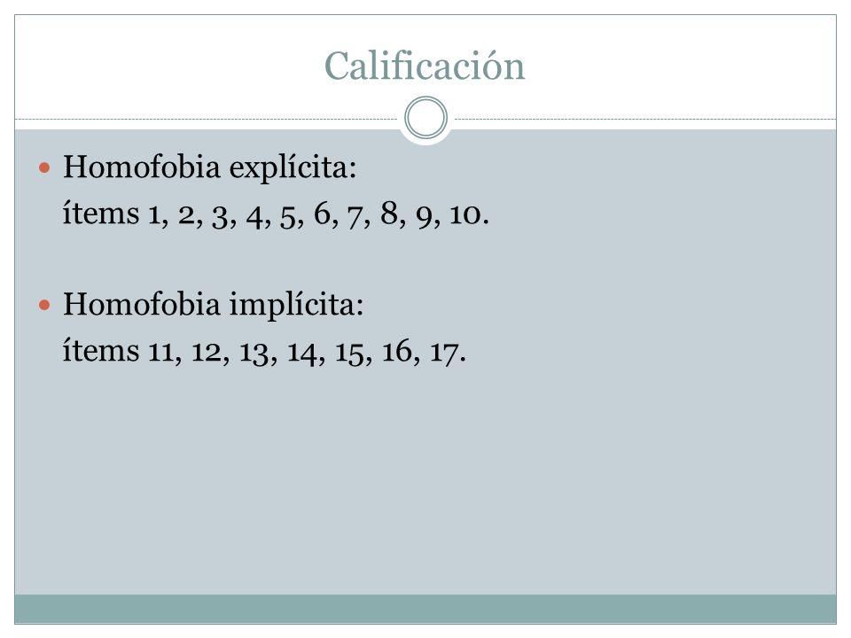 Calificación Homofobia explícita: ítems 1, 2, 3, 4, 5, 6, 7, 8, 9, 10.
