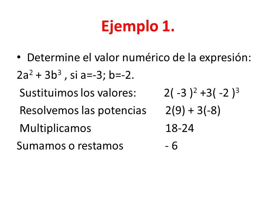 Ejemplo 1. Determine el valor numérico de la expresión: