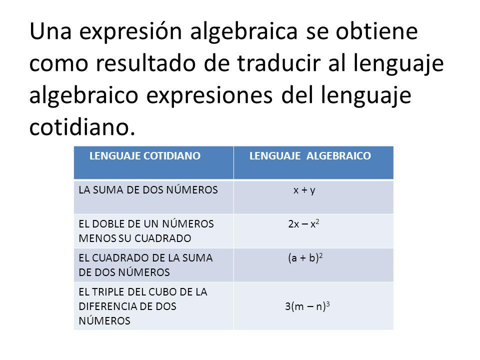 Una expresión algebraica se obtiene como resultado de traducir al lenguaje algebraico expresiones del lenguaje cotidiano.