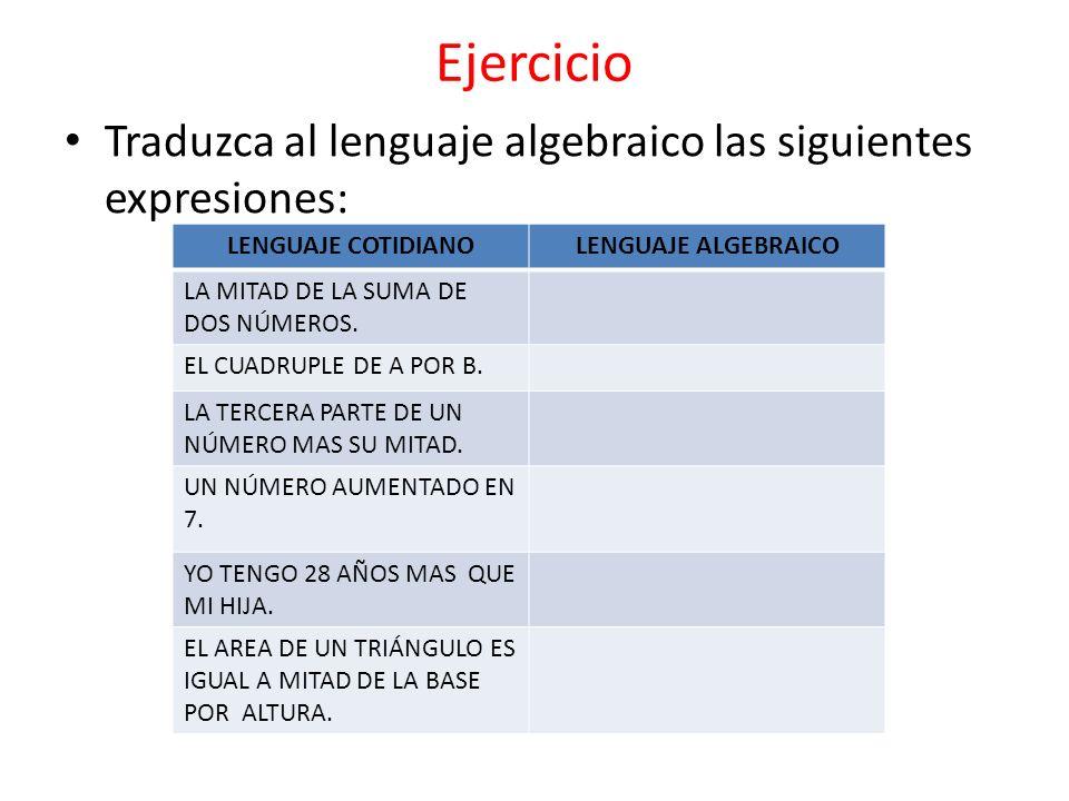 Ejercicio Traduzca al lenguaje algebraico las siguientes expresiones: