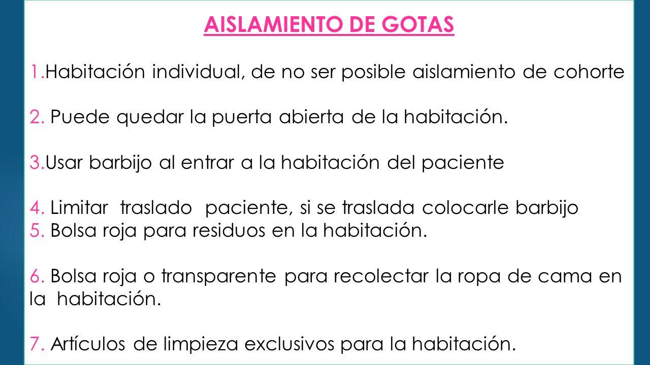 AISLAMIENTO DE GOTAS 1.Habitación individual, de no ser posible aislamiento de cohorte. 2. Puede quedar la puerta abierta de la habitación.