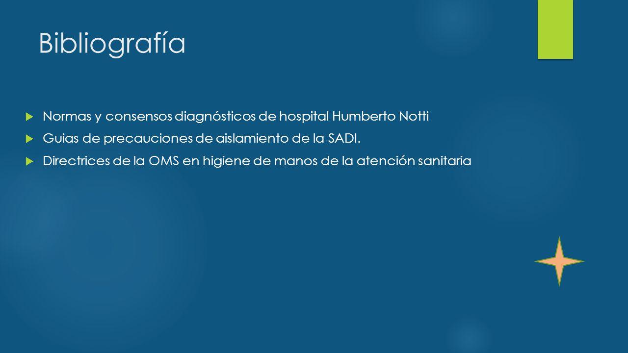 Bibliografía Normas y consensos diagnósticos de hospital Humberto Notti. Guias de precauciones de aislamiento de la SADI.