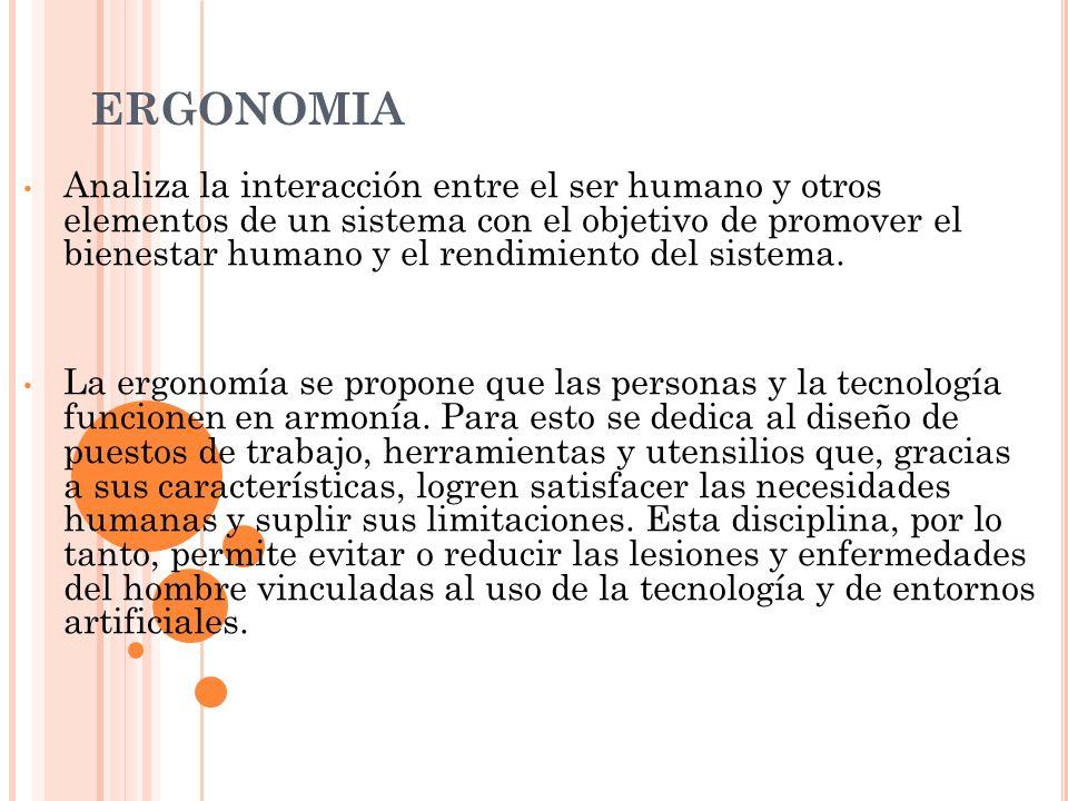 Ergonomia analiza la interacci n entre el ser humano y for Caracteristicas de la ergonomia