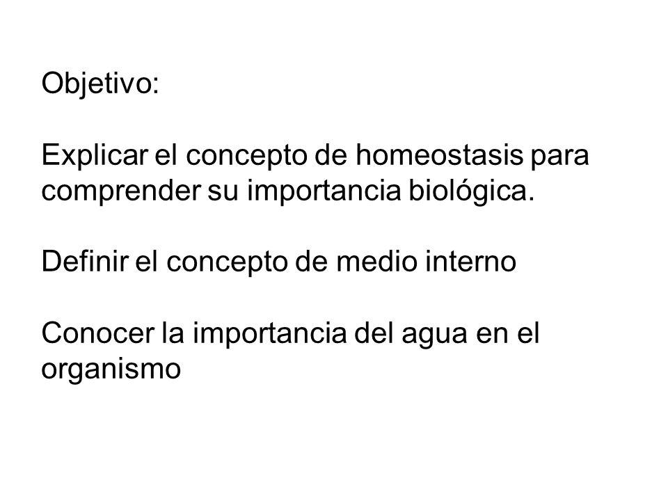 Objetivo: Explicar el concepto de homeostasis para comprender su importancia biológica. Definir el concepto de medio interno.