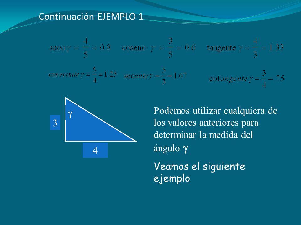 Continuación EJEMPLO 1  4. 3. Podemos utilizar cualquiera de los valores anteriores para determinar la medida del ángulo 