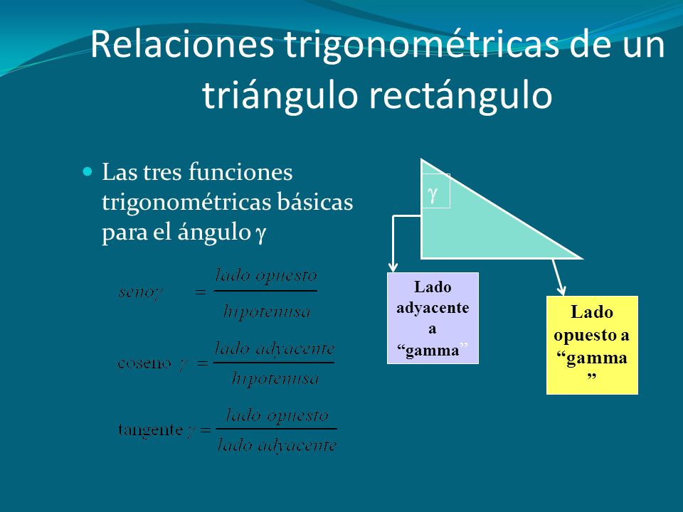 Relaciones trigonométricas de un triángulo rectángulo