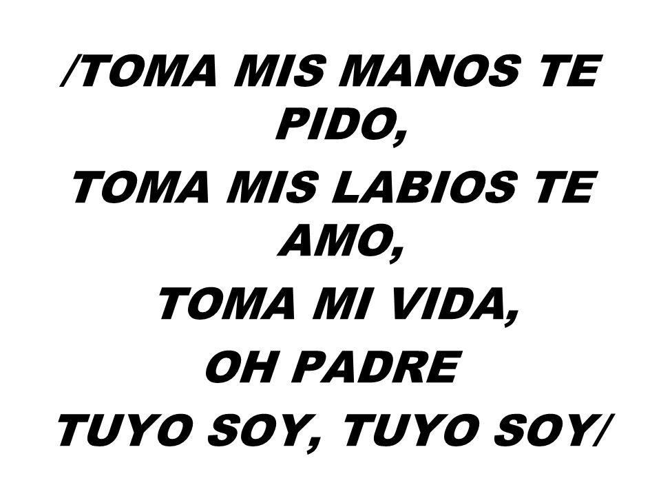 /Toma mis manos te pido, toma mis labios te amo, toma mi vida, Oh Padre Tuyo soy, tuyo soy/