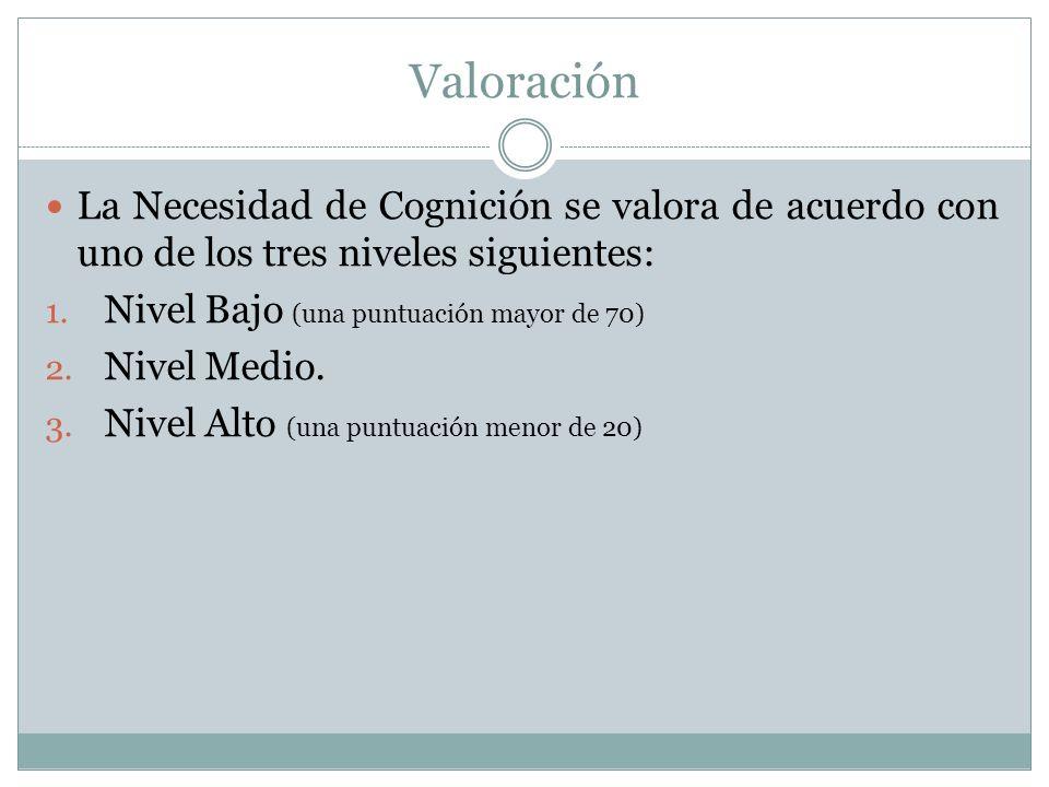 Valoración La Necesidad de Cognición se valora de acuerdo con uno de los tres niveles siguientes: Nivel Bajo (una puntuación mayor de 70)