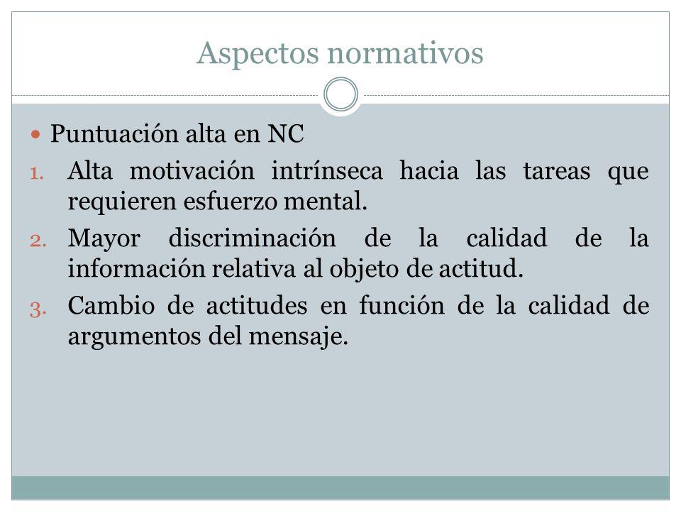 Aspectos normativos Puntuación alta en NC