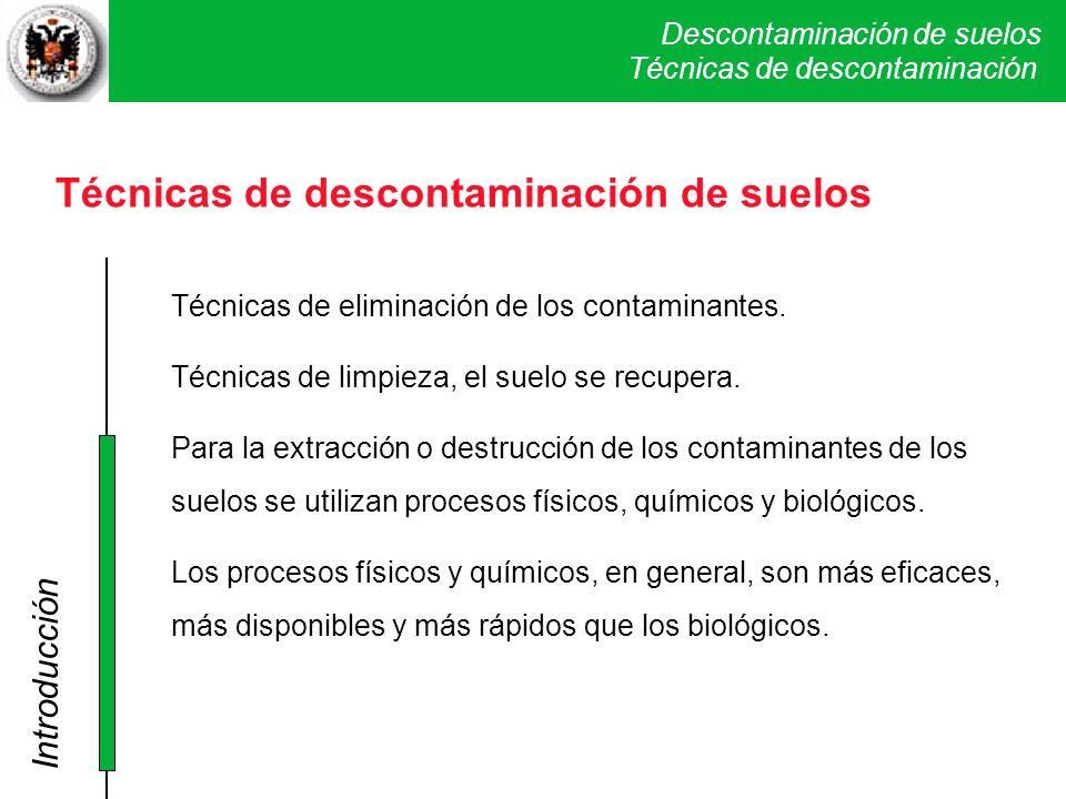 Técnicas de descontaminación de suelos
