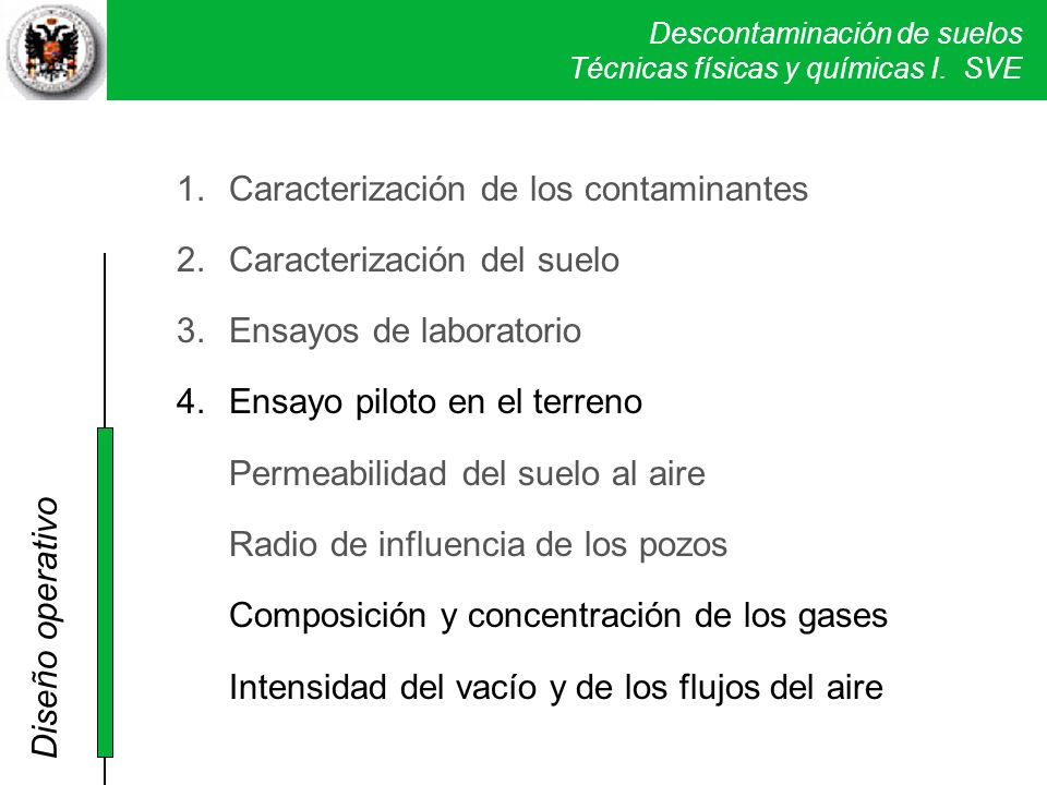 Caracterización de los contaminantes Caracterización del suelo