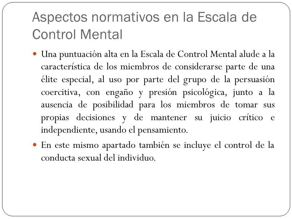 Aspectos normativos en la Escala de Control Mental