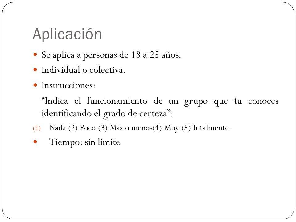 Aplicación Se aplica a personas de 18 a 25 años.
