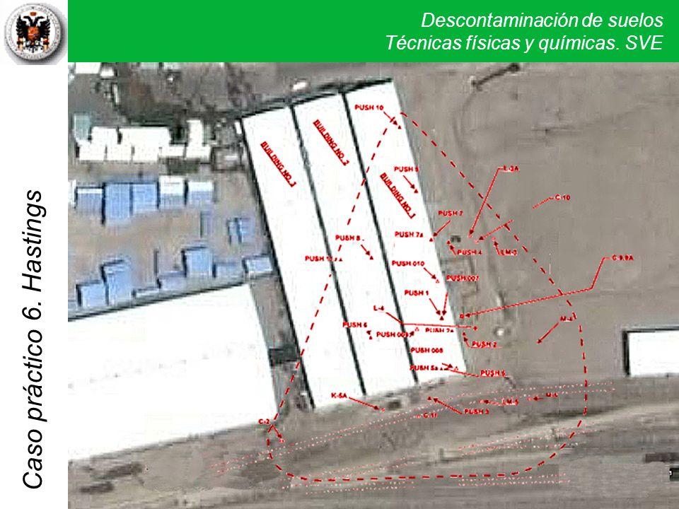 6. Hastings El SVE definitivo consta de 10 pozos de extracción al vacío (5 profundos, 3 intermedios y 2 superficiales) y 5 pozos para monitoreo.