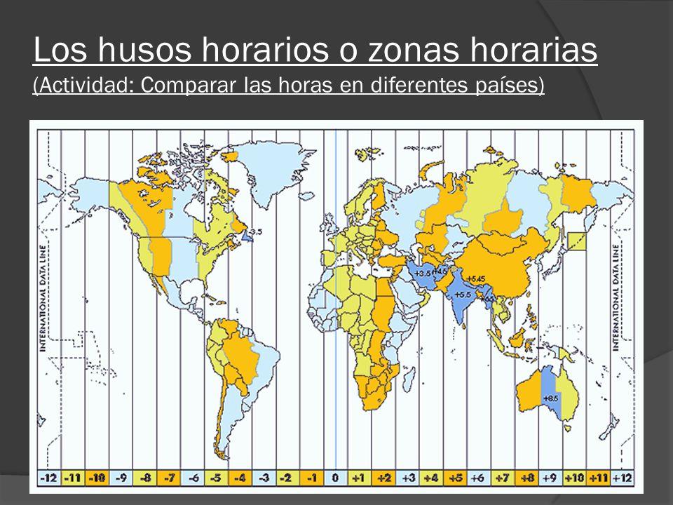Los husos horarios o zonas horarias (Actividad: Comparar las horas en diferentes países)