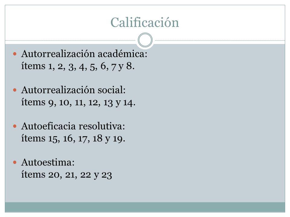 Calificación Autorrealización académica:
