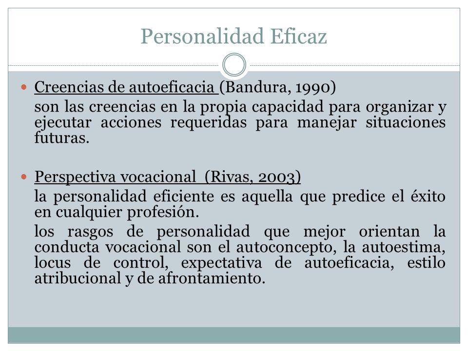 Personalidad Eficaz Creencias de autoeficacia (Bandura, 1990)