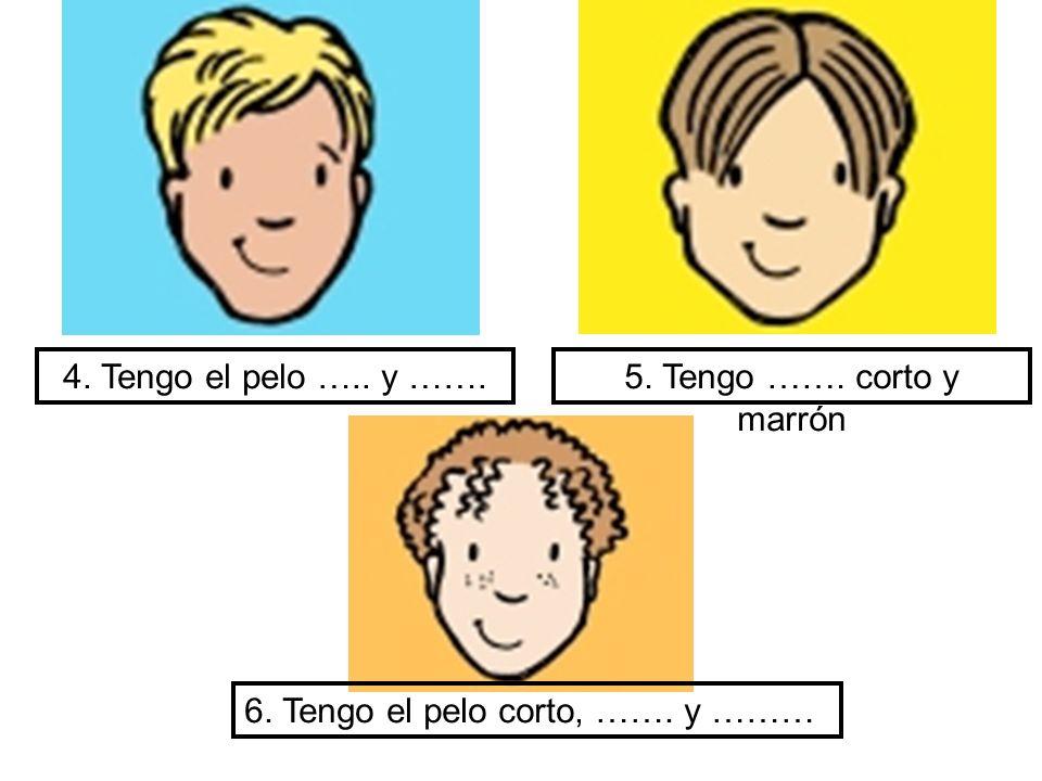 4. Tengo el pelo ….. y ……. 5. Tengo ……. corto y marrón 6. Tengo el pelo corto, ……. y ………