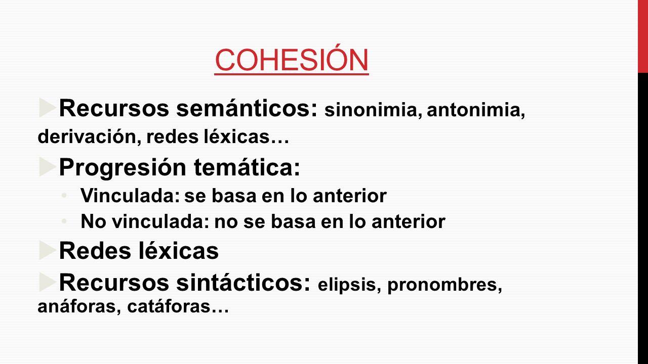 COHESIÓN Recursos semánticos: sinonimia, antonimia, derivación, redes léxicas… Progresión temática: