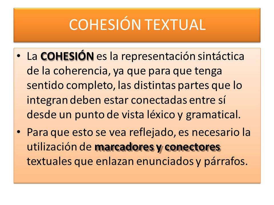 COHESIÓN TEXTUAL
