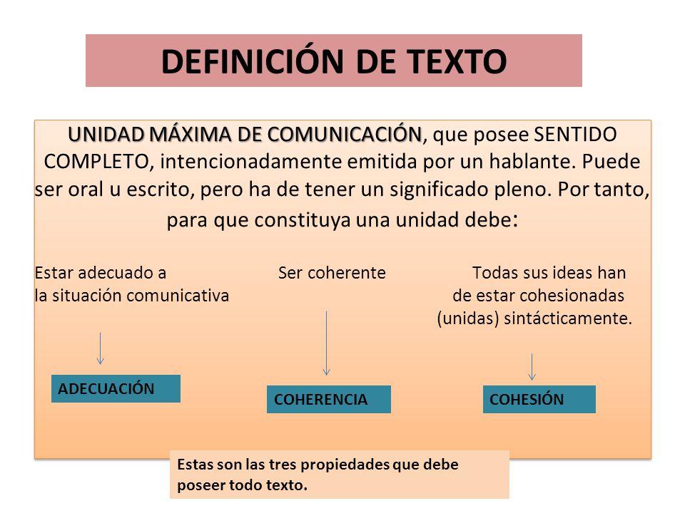 DEFINICIÓN DE TEXTO DEFINICIÓN DE TEXTO