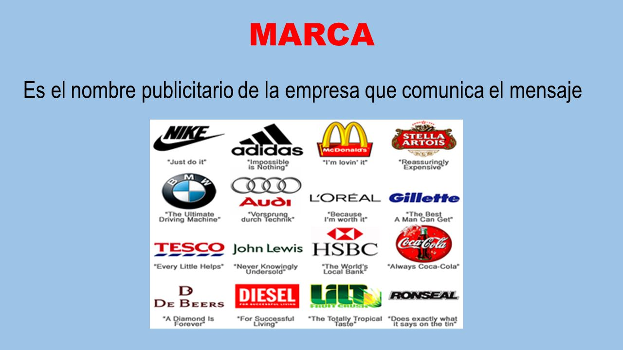 MARCA Es el nombre publicitario de la empresa que comunica el mensaje
