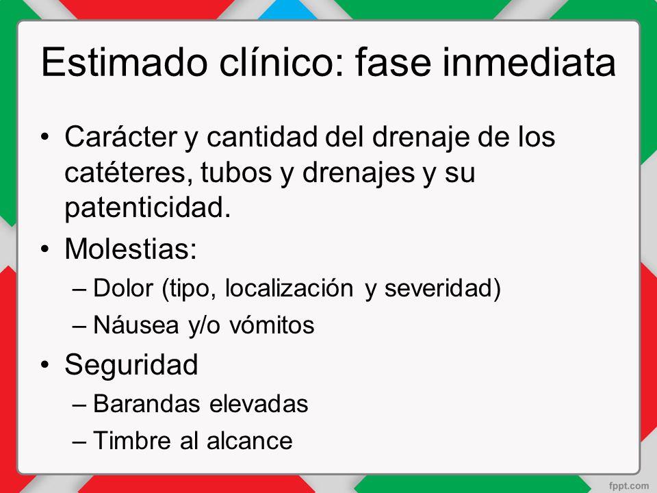 Estimado clínico: fase inmediata
