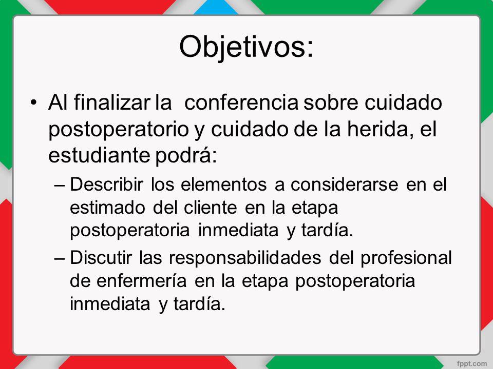 Objetivos: Al finalizar la conferencia sobre cuidado postoperatorio y cuidado de la herida, el estudiante podrá:
