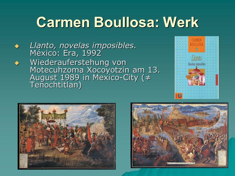 Carmen Boullosa: Werk Llanto, novelas imposibles. México: Era, 1992
