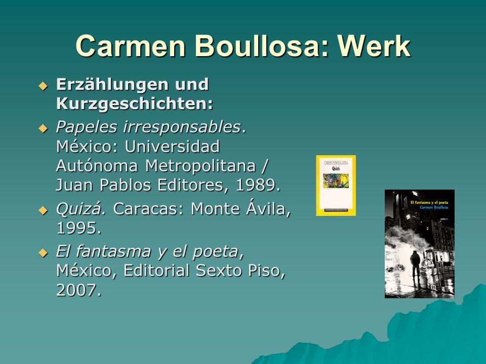 Carmen Boullosa: Werk Erzählungen und Kurzgeschichten: