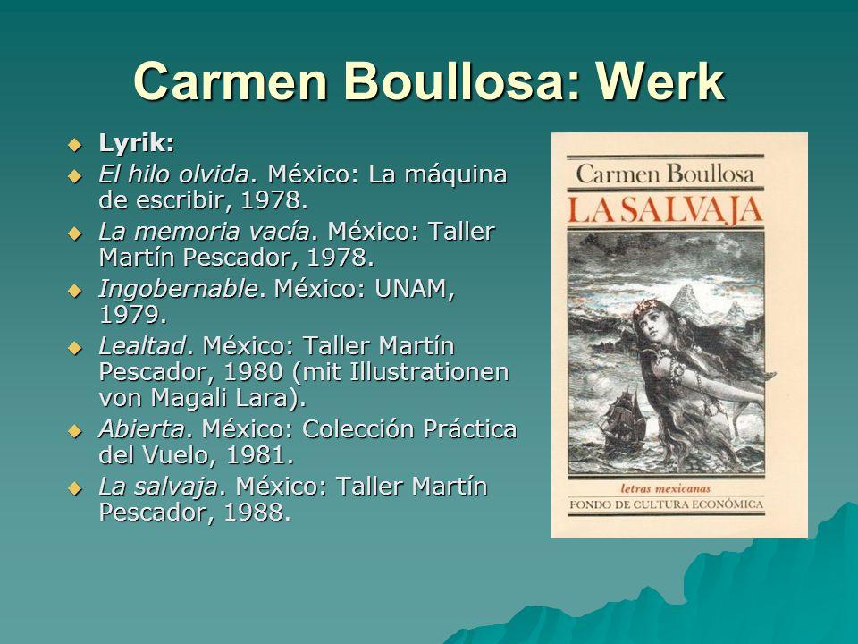 Carmen Boullosa: Werk Lyrik: