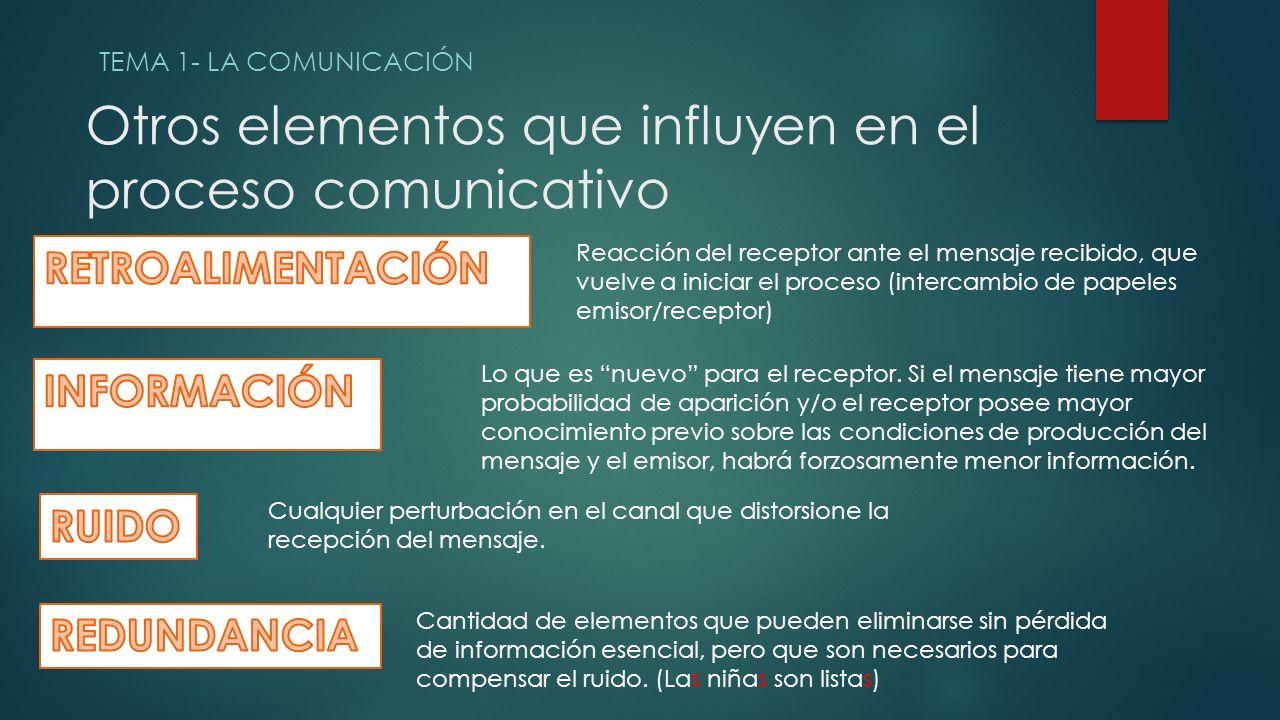 Otros elementos que influyen en el proceso comunicativo