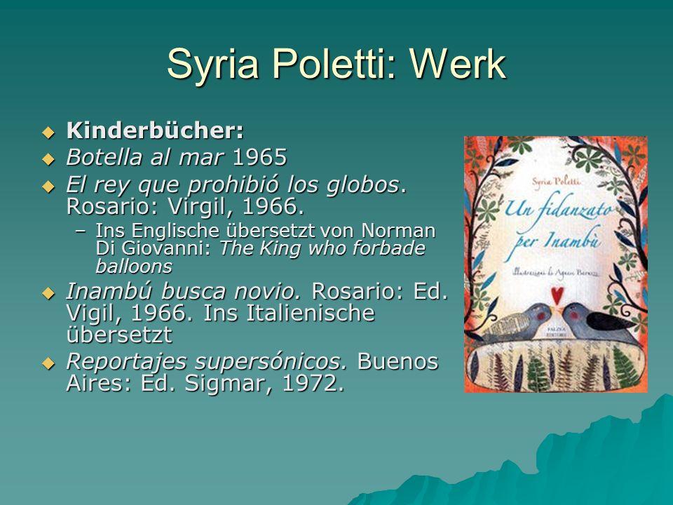 Syria Poletti: Werk Kinderbücher: Botella al mar 1965