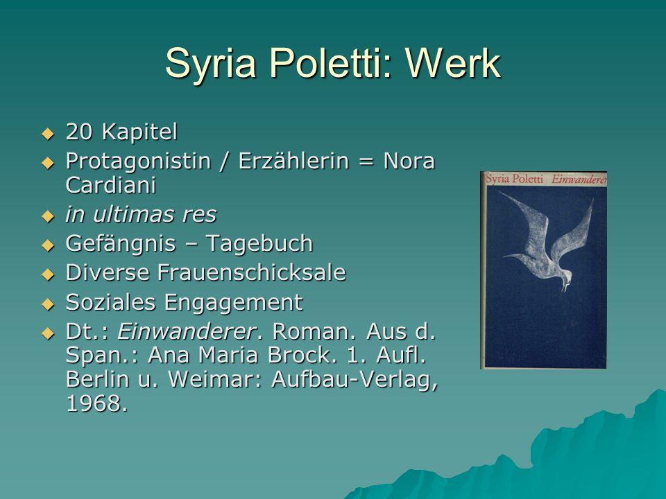 Syria Poletti: Werk 20 Kapitel