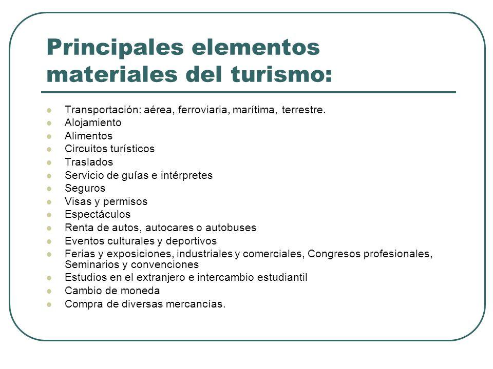 Principales elementos materiales del turismo: