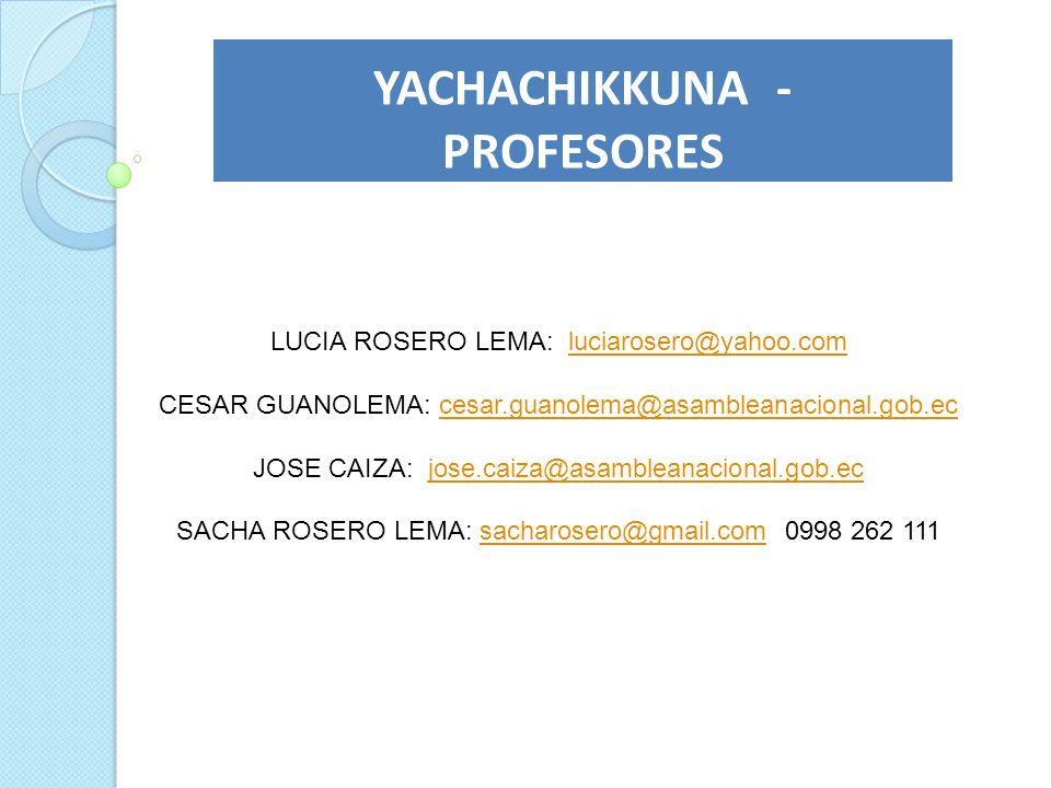 YACHACHIKKUNA - PROFESORES