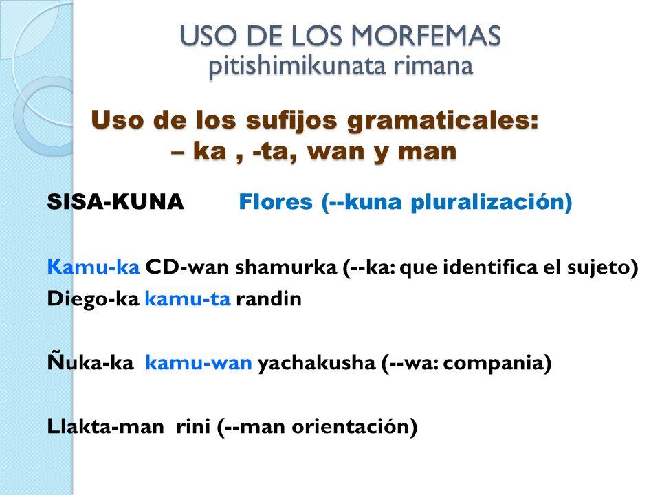 Uso de los sufijos gramaticales: – ka , -ta, wan y man
