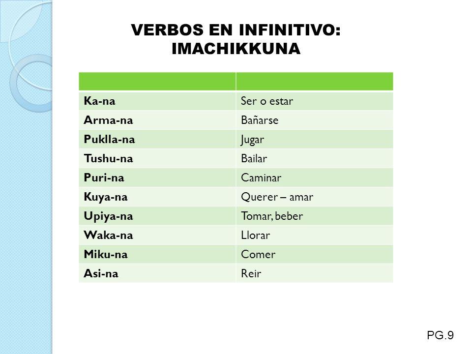 VERBOS EN INFINITIVO: IMACHIKKUNA