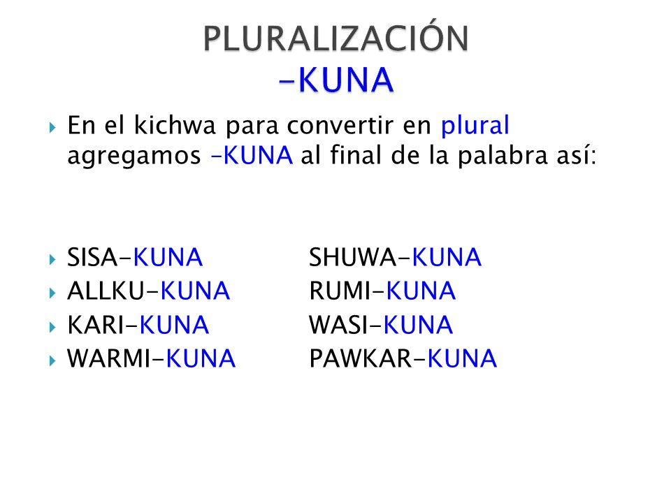 PLURALIZACIÓN -KUNA En el kichwa para convertir en plural agregamos –KUNA al final de la palabra así: