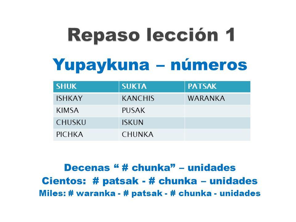 Repaso lección 1 Yupaykuna – números Decenas # chunka – unidades