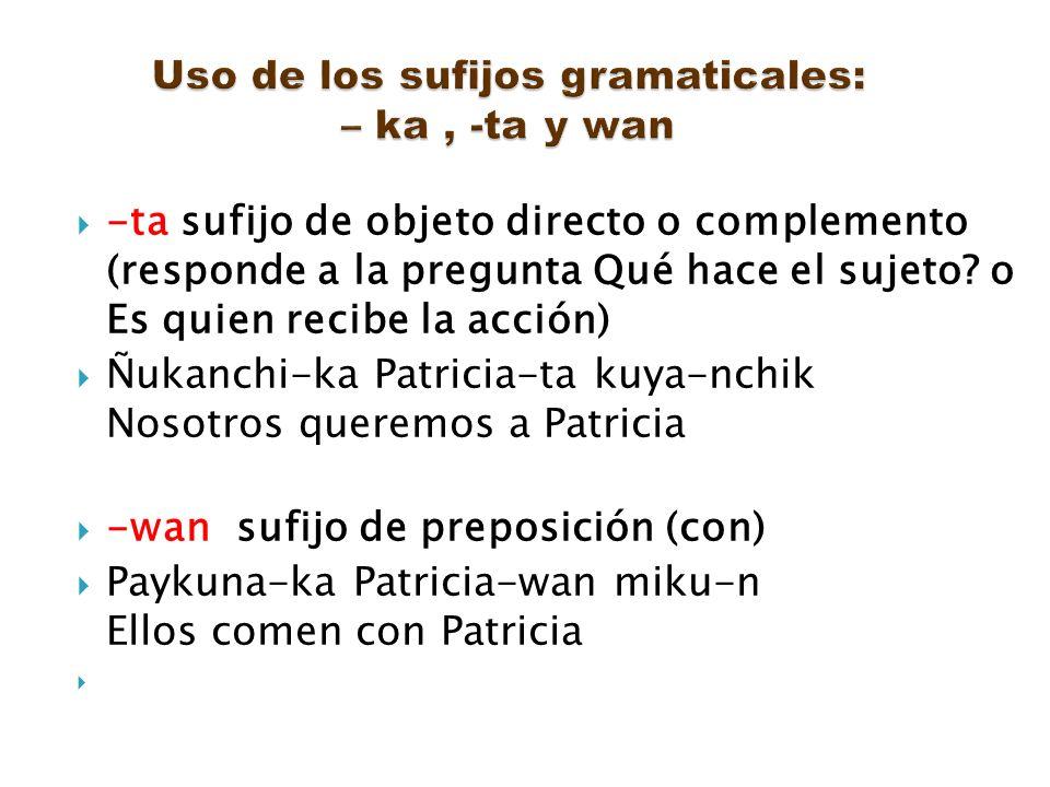 Uso de los sufijos gramaticales: – ka , -ta y wan