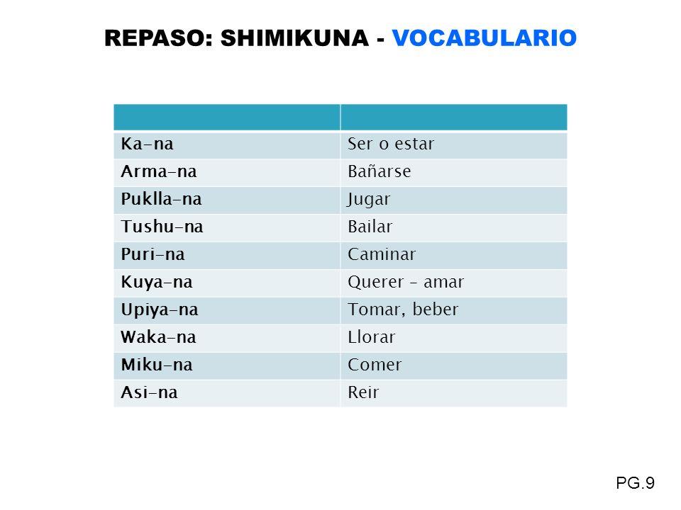 REPASO: SHIMIKUNA - VOCABULARIO