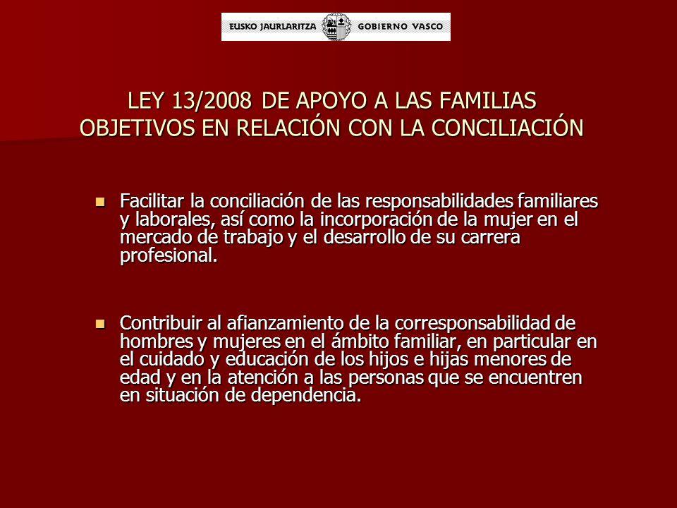 LEY 13/2008 DE APOYO A LAS FAMILIAS OBJETIVOS EN RELACIÓN CON LA CONCILIACIÓN