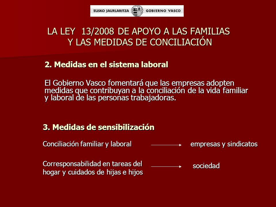 LA LEY 13/2008 DE APOYO A LAS FAMILIAS Y LAS MEDIDAS DE CONCILIACIÓN