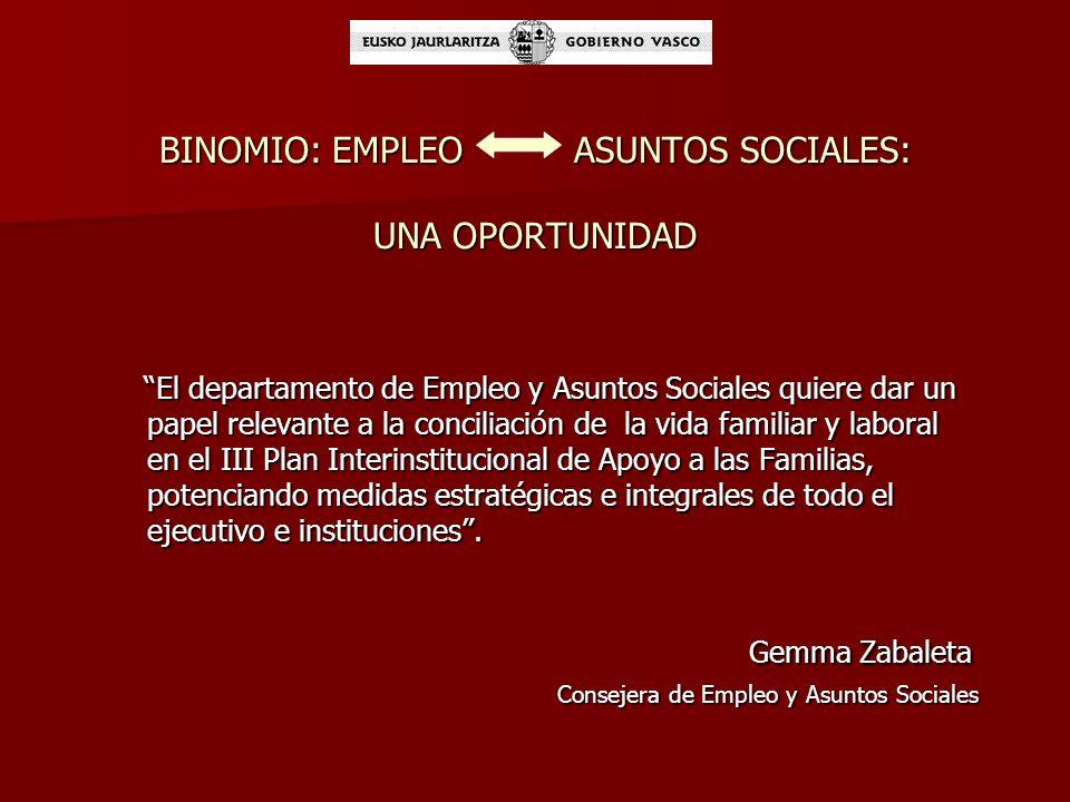 BINOMIO: EMPLEO ASUNTOS SOCIALES: UNA OPORTUNIDAD
