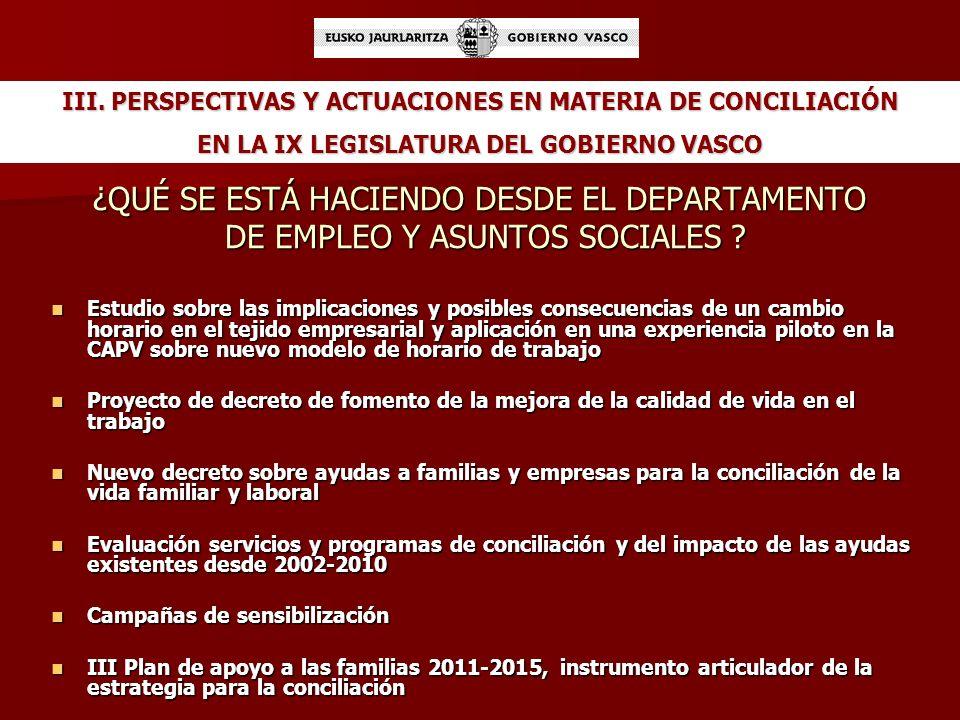 III. PERSPECTIVAS Y ACTUACIONES EN MATERIA DE CONCILIACIÓN